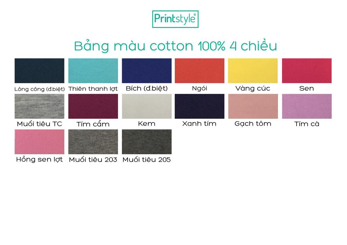 bảng màu thun cotton 100%